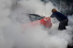 Smokey - 10/17 (Rob Hayman) Tags: smoke tyre tire burn out wheel spin car crowd lads teenagers 200 sx honda red ginger