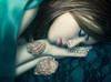 Solitary shell (Giulia Valente) Tags: portrait people portraiture peaceful peace poem sea sleeping eyes alone one woman beautiful beauty shell pearl blue ocean dream atmosphere mood shadow light inspiring illusion darkness ethereal