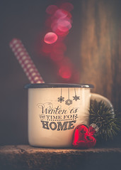 Winter at home (Ro Cafe) Tags: christmas rustic stilllife tistheseason winter bokeh enamelmug home wood quote decoration nikkormicro105f28 nikond600