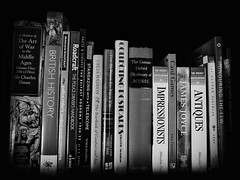 (GLKPhotos) Tags: books bookcase bookshelf titles literature spines shelf reading learning knowledge english words bookcovers writing house home collection bw monochrome blackandwhite uncropped details organised vignette eclectic reference authors writtenword