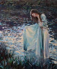 Bathing at Dawn (bozhenafuchs) Tags: art painting impressionism artist impressionist wallart textureart paintinggirl paintingwoman landscape woman girl sun bathing