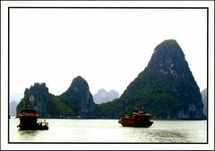 postcard - Ha Long Bay, Vietnam (Jassy-50) Tags: postcard vietnam unescoworldheritagesite unescoworldheritage unesco worldheritagesite worldheritage whs halongbay bay water boat rock
