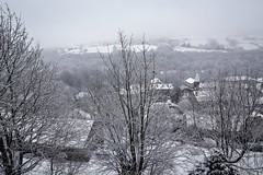Today we saw snow..... (rustyruth1959) Tags: nikon nikond5600 sigma1020mm uk england yorkshire calderdale ripponden ryburnvalley valley home view landscape snow church fields houses buildings walls farmland farm trees branches mist woodland woods road oldhamroad roof rooftops chimney gardens