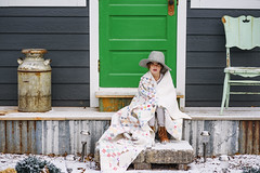 Guard girl (Elizabeth Sallee Bauer) Tags: 5yearold nature blanket child childhood cold cozy girl hat kid outdoors outside portrait quilt snow vintage whate white winter
