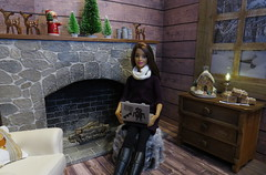 Christmas Shopping in comfort (Foxy Belle) Tags: doll dollhouse miniature 16 playscale barbie log rustic cozy wood wooden scrapbook paper fireplace stone ooak room living computer laptop fur stool ottoman