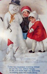 """HAPPY HOLIDAYS TO ALL OF MY """"FLICKR FRIENDS"""" (kelsey61 (OFF AND ON FOR A WHILE)) Tags: snowman children snowmen boy girl card christmascard oldfashionedchristmascard"""