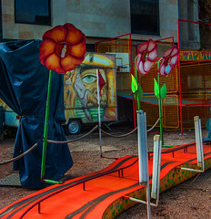 Trip (bbaffometi) Tags: color red street surrealism surrealistic flower road circus eye art square