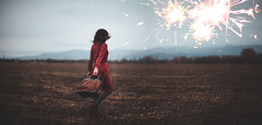 Let's go on an adventure (Siréliss) Tags: siréliss field winter travel woman suitcase bag firework