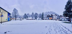 Winter panorama of Kiefersfelden, Bavaria, Germany (UweBKK (α 77 on )) Tags: winter snow sky grey clouds kiefersfelden bayern bavaria deutschland germany europa europe city centre iphone panorama