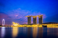 Marina bay at dusk, Singapore city skyline (Patrick Foto ;)) Tags: architecture asia bay building business casino central city cityscape district downtown dusk famous hotel landmark landscape light marina metropolis modern morning night panorama reflection riverside sands scene singapore sky skyline skyscraper structure sunrise sunset tourism tower town travel twilight urban view water waterfront sg