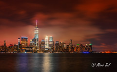 Exchange Place (Morkos Salama) Tags: newyork city hudson river landscape nature reflection reflections color colors night world trade center exchange place water newport ferry boats view photo sony alpha digital long exposure