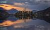 The magic lake (ezequielmartinezfotografo) Tags: slovenia heaven landscape sunset bled forest water mountains ezequielmartinez magic lake horizontal church clouds radovljica eslovenia si