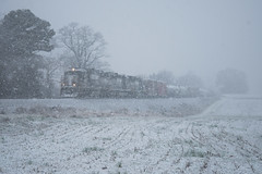 60s in the Snow (ajketh) Tags: ns norfolk southern emd sd60 sd402 gp60 p60 freight train railroad snow shower rain cold winter mix christmas blizzard white out claremont nc north carolina sline asheville district 6635 7107