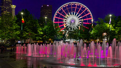 Atlanta, GA: Skyview and the Olympic Rings Fountains at Centennial Olympic Park (nabobswims) Tags: atlanta centennialolympicpark downtownatlanta fountain ga georgia hdr highdynamicrange nabob nabobswims night nightfoto olympicrings photoshop sel18105g skyview sonya6000 us unitedstates bluehour blauestunde photomatix