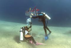 15dec05a (KnyazevDA) Tags: disability diver diving disabled handicapped underwater redsea hanukkah hanukah menorah lights candles israel eilat etgarim cmas amputee paraplegia paraplegic