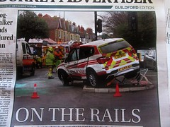 oops .. shunted into railings -Surrey Fire & Rescue BMW 5 (John(cardwellpix)) Tags: guildford surrey uk this fire rescue bmw 5 shunted railings by on christmas eve no one was injured luckily thats quite an impact push that sideways