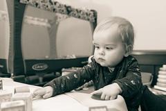 Will - 11 months old (Katherine Ridgley) Tags: toronto torontobaby baby babyboy babyfashion cutebaby family crawl crawling moving move indoor indoors house home play toy babytoy portrait monochrome blackwhite blackandwhite