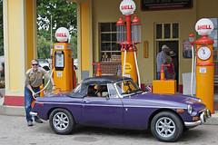 MG Flashback (DJ Wolfman) Tags: mg vintage car aoto shell gas purple carshows gilmore gilmorecarmuseum olym omd em1markii olympus olympusomd micro43 zuiko zd
