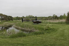 Helicopter at Cornerstone Golf Course (blueheronco) Tags: cornerstonegolfcourse helicopter robinsonhelicopter r44 r44ravenii cffsp tobermory brucepeninsula ontario canada