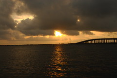 SUNRISE (R. D. SMITH) Tags: sunrise bridge water morning indianriver florida clouds sky reflection canonrebelxsi