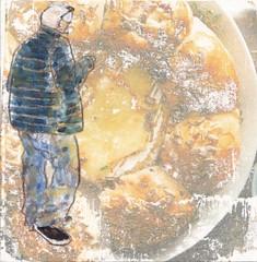 # 241 2017-12-31 (h e r m a n) Tags: herman illustratie tekening 10x10cm tegeltje drawing illustration karton carton cardboard kunst art man male jas coat