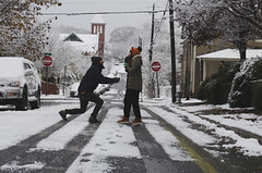 A faux proposal (moke076) Tags: atlanta ga cabbagetown snow snowy street church neighborhood friends people random shot fake faux proposal downononeknee elmo knitted hat suprise portrait person man woman couple fall autumn storm nikon d7000 funny