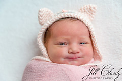 New Beginnings (Jill Clardy) Tags: 201801044b4a7557 infant baby girl newborn pink hat ears smile grin portrait 365the2018edition 3652018 day4365 04jan18