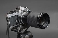 Nikon FE2 with Nikon Series E 70-210mm lens (Howard Sandler (film photos)) Tags: nikon fe2 seriese 70210mm zoom gray slr 35mm porn camera