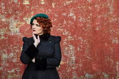Pink wall (Neal J.Wilson) Tags: 1950 50s vintage oldfashioned hat pink wall model modelling portraits portrait redhead ginger colors fashion nikon