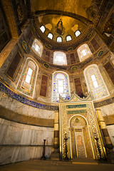 Mihrab in the Hagia Sophia (chrisdingsdale) Tags: hagiasophia ayasofya building historic structure ornamental decorative religious landmark islamic architecture art byzantine christian church istanbul turkey culture heritage constantinople hagia sofya sofia sophia ottoman religion temple muslim empire turkish mosque basilica dome byzantium islam travel aya interior tourism monument christianity cathedral roman architectural ornate mihrab altar
