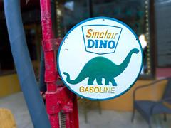 Sinclair Dino Gasoline (shollingsworth) Tags: sinclair dino gasoline sign vintage light l16 lightl16 hollingsworth stephenhollingsworth typography gas locke california