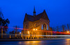 in my hometown (bialobrody) Tags: chrzanow bluehour lighttrails malopolska poland church city town