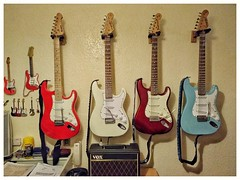 Dad-in-law's guitars (tubblesnap) Tags: guitar guitars collection fender vox