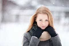 IMG_0868 flickr (Serge Zap) Tags: red hair redhead ginger freckles winter portrait girl snow scarf cozy coat woman