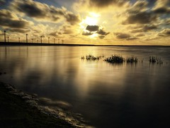 New Energy (iPhone Fotograaf) Tags: clouds evening landscape reflection green sun sunset dutch sky dike beach iphone6s