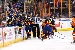 "Kansas City Mavericks vs. Colorado Eagles, December 16, 2017, Silverstein Eye Centers Arena, Independence, Missouri.  Photo: © John Howe / Howe Creative Photography, all rights reserved 2017. • <a style=""font-size:0.8em;"" href=""http://www.flickr.com/photos/134016632@N02/39138140681/"" target=""_blank"">View on Flickr</a>"