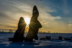 Open your mind in 2018 (Greg @ Montreal) Tags: lachine montreal montréal québec quebec sculpture statue sunset sun head cold winter hiver froid tête neige snow mind exterieur exterior extérieur ciel goldenhour sky nikon nikonpassion d7100
