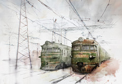 Old trains (fil_yevko) Tags: train эр9 er9 suburban электричка електричка electric rvr ukraine київ kiev україна поезд електропоїзд watercolor