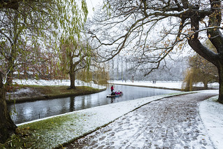 Snowy Punting Along The River Cam.