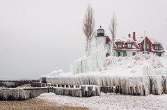 Freezing Point (Aaron Springer) Tags: michigan northernmichigan lakemichigan thegreatlakes pointbetsie pointbetsielighthouse ice snow lighthouse december 2016 outdoor landscape