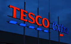 TESCO extra (RafalZych) Tags: tesco extra mall market supermarket shop shopping blue hour red font letters nikon d90 1855 dawn color