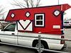 Homemade camper (Dave* Seven One) Tags: camper homemadecamper colorful chevrolet c10 c1500 pickup pickuptruck plywood redwhiteblue parkinglot rv truckcamper