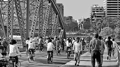 Guangzhou 5.30 p.m. rush hour (gerard eder) Tags: world travel reise viajes asia easternasia eastasia china guangzhou guangdong canton bicycle traffic rushhour bridges brücken puentes city ciudades cityscape cityview städte street stadtlandschaft streetlife paisajes panorama people peopleoftheworld outdoor blackandwhite blackwhite bw sw monochrome