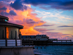 Fiery Clouds over Aberystwyth Pier (tommosnaps) Tags: clouds wales uk aberystwyth sunset reflection pier seaside coast sky landscape
