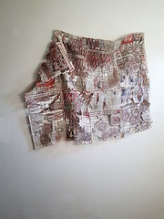 Glücks-Atlas - Happiness Atlas (Ines Seidel) Tags: newspaper paper news altered transformation atlas red redthread sewing stitching machinestitching fiberart paperart texture wallhangings