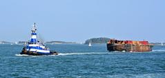 090417-237F (kzzzkc) Tags: nikon d7100 usa massachusetts boston harbor northatlantic ocean island tugboat indiandawn towing barge trash