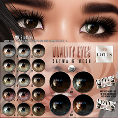 Duality Eyes @ The Gacha Guardians (LOTUS. & Ugly Duckling) Tags: sl second life gacha gatcha guardians gift eyes mesh catwa applier hud mix match cute quality sharp new event events win prize rare common lotus