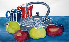 Still life by ... - DSC02207 (Dona Minúcia) Tags: art painting watercolor stilllife kettle fruit table apple arte pintura aquarela naturezamorta naturezaimóvel chaleira fruta food alimento comida flor flower mesa