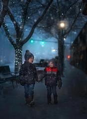 Winter Stroll (lindseym35) Tags: storefront bench colorado estespark snow snowing winter ctiy bokeh lights brothers