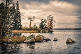The rocky Gulf of Finland shore in the Monrepos park in Vyborg.